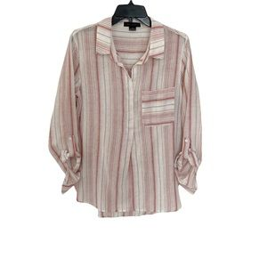Sanctuary by Anthropology Striped Tunic Top with aRoll tab Sleeves